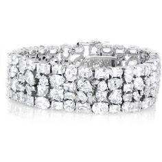 Amara's Mixed Cut Chunky CZ Cuff Bracelet 7 inches (410 BRL) ❤ liked on Polyvore featuring jewelry, bracelets, chunky bangles, hinged cuff bracelet, chunk jewelry, clear crystal jewelry and cubic zirconia bangles