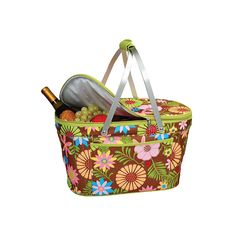 Picnic at Ascot Collapsible Insulated Basket - Floral ($49) ❤ liked on Polyvore featuring home, kitchen & dining, food storage containers, none, aluminum food storage containers, thermo cooler, lidded storage baskets, lidded basket and floral baskets