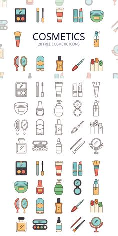 Cosmetics Vector Free Icon Set is an interesting set of icons. A total of 20 pieces Kawaii Drawings, Cute Drawings, Vector Icons, Vector Free, Icon Design, Web Design, Design Layouts, Flat Design, Instagram Logo