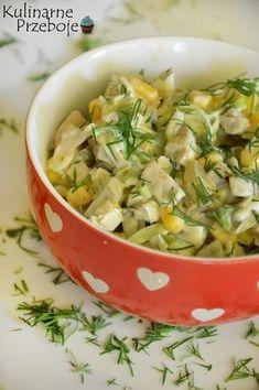 Sałatka z marynowanymi pieczarkami i porem, Sałatka pieczarkowa i porem, sałatka z pieczarkami marynowanymi, ogórkami kiszonymi, kukurydzą i porem. Veg Recipes, Salad Recipes, Vegetarian Recipes, Cooking Recipes, Healthy Recipes, Appetizer Salads, Appetizer Recipes, Appetizers, Vegetable Salad