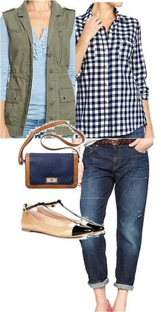 fall weekend casual.  green military vest, boyfriend jeans, navy plaid shirt, chanel inspired flats, target crossbody purse