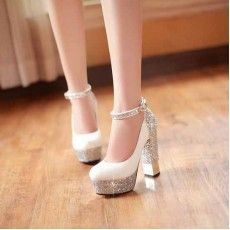 Bridal leather high-heeled shoes Sparkle Bling Wedding Shoes For Women With High Platform and Ankle Strap Round Toe, Chunky Heels Bling Wedding Shoes, Wedding Heels, Bridal Shoes, High Heel Boots, Heeled Boots, Shoe Boots, Shoes Heels, Dress Shoes, Ugg Boots