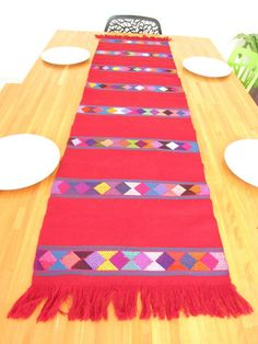 Table Runner Handwoven Geometric Style From Chiapas, Mexico