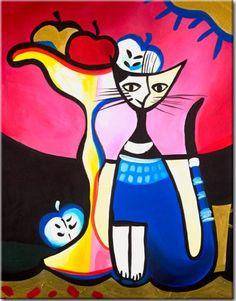 """Wandbild """"Fröhliche Katze"""" ᐳᐳ Motive des Bildes: Katze, Äpfel, Fantasie, Abstrakt. Perfekte Deko für alle Liebhaber der abstrakten Kunst. ᐳᐳ"""