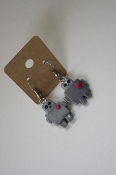 Robot Polymer Clay Earrings by Cyclop on Etsy, $18.50