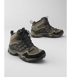 Men's Adidas Trans X Mid GTX Hiking Shoes, Brown  Adidas Trans X Mid GTX Hiking Shoes - Stand-out support in a lightweight hiking shoe. Outdoor FORMOTION technology enhances motion control and reduces pressure on knees, ankles and legs on uneven ground. adiPRENE™ extra-propulsion in forefoot. Stabilizing midsole; EVA insole. Waterproof nubuck leather upper and GORE-TEX lining. Kevlar laces. Rubber sole.