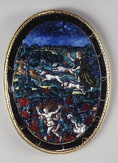 Diana Hunting and the Rape of Proserpina  Master I. D. C. (active second half of the 16th century)  Date: probably late 16th century Culture: French (Limoges) Medium: Painted enamel on copper, partly gilt; gilt metal