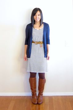 d8ecb38cc0 Black and white striped dress with a navy cardi and brown leggings