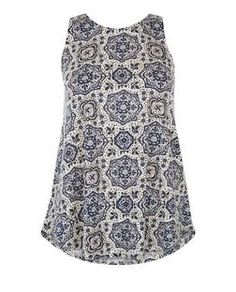 Blue Tile Print Zip Back Cami  | New Look