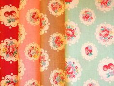 Floral fabric set, YUWA scallop floral fabric by Atsuko Matsuyama 30s Collection, flower bouquet, cherry, strawberry on Etsy, $24.82 CAD