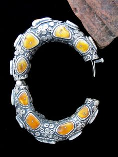Antique Tibetan Tribal Jewelry - Real Amber and Silver Large Bracelet