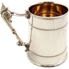 Antique Victorian Sterling Silver 3/4 Pint Mug/Tankard - 1869
