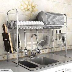 decoração de cozinha com escorredor aramado