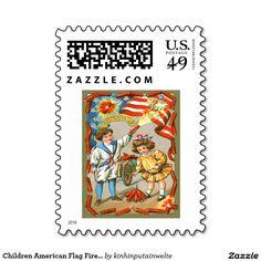 Children American Flag Fireworks Firecracker Stamp