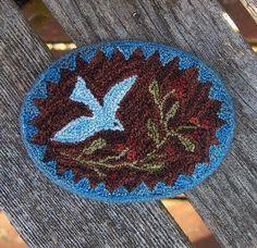 punchneedle dollhouse rug Bleucerise