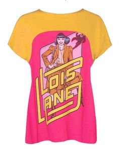 LOIS LANE Superman Love Interest 1970's Journalist Pop Art Printed Two Tone T-Shirt Top by IDILVICE.