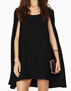 Black Round Neck Chiffon Cape Dress