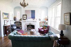 Our den-- barrel vaulted ceiling, Maine potato basket  | Mississippi Home | Ashleigh Coleman Photography