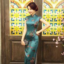 2017 Nouveau Vert Cheongsam Chinois De Mariage Qipao Traditionnel Robes Robe Oriental Moderne Conception Robe de Soirée De Style Chinois(China)