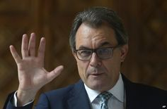 """Catalonia presses ahead with symbolic Spain secession vote - bbc.com, 14 October 2014. The head of Spain's Catalonia's region has said a non-binding vote on independence will go ahead on 9 November, in defiance of Madrid. The """"consultation"""" vote called by Artur Mas was suspended by the Constitutional Court last month after a challenge by the central government."""