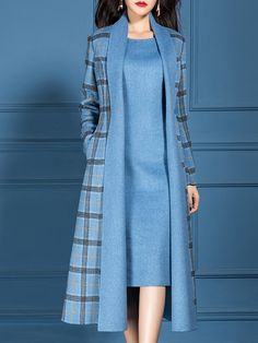 Type:Checkered/PlaidSleeve Type:Long SleeveSilhouette:ShiftThickness:Mid-weightMaterial:PolyesterNeckline:V neckOccasion:Office & vestidos Checkered/plaid V Neck Dress with Coat Work Two-piece Set Muslim Fashion, Hijab Fashion, Fashion Outfits, Womens Fashion, Fashion Ideas, Tartan Fashion, 2000s Fashion, Fashion Hacks, Winter Fashion