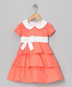 Take a look at this Coral Polka Dot Ruffle Dress - Infant, Toddler & Girls by Gidget Loves Milo on #zulily today!