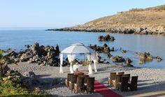 Wedding in Crete - Civil Beach wedding ceremony. Wedding Events, Wedding Ceremony, Crete, Royal Blue, Travel Destinations, Destination Wedding, Patio, Luxury, Beach