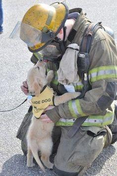 Service puppy meets firefighter…  xxx