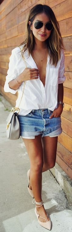 Loose white button up, jean shorts, ankle wrap flats