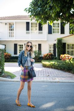 Little Blonde Book A Fashion Blog by Taylor Morgan. Thanksgiving Outfit Idea: Ivory and navy striped turtleneck tee+colourfull checked tweed skirt+mustard flats with black details+black shoulder bag+denim jacket+sunglasses. Fall Outfit 2016