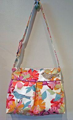 Garden Fresh Birds and Flowers - Medium Pleated Bag w Adj Strap; http://www.etsy.com/listing/74189093/garden-fresh-birds-and-flowers-medium?ref=usr_faveitems_uid=9823062
