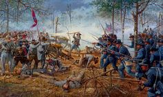 """The Hornet's Nest"", by Dale Gallon. Near Pittsburg Landing, TN, April, 1862 - Elements of the Iowa Infantry Regiment engage Louisiana soldiers in the Hornets Nest at the Battle of Shiloh Nagasaki, Hiroshima, Fukushima, Military Art, Military History, Military Veterans, Battle Of Shiloh, Civil War Art, Vietnam"