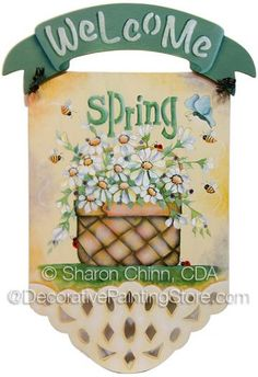The Decorative Painting Store: Spring Daisy Basket Online Tutorial by Sharon Chinn, Video Painting Classes Online Tutorials, Art Tutorials, Online Painting Classes, One Stroke Painting, Autumn Painting, Welcome Spring, Learn To Paint, Four Seasons, Craft Projects