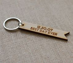 Engraved key chain {handmade in the USA by BookFiend} DETAILS: • cut from 1/8 thick wood or 1/8 clear acrylic • wood charm measures 5/8 wide x 3 long