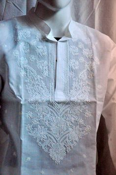 Plus size white kurta mens clothing shirt by KurtiTunicTopLucknow Embroidered Clothes, Embroidered Tunic, Green Plus Size Dresses, White Kurta, Embroidery Neck Designs, Cotton Style, Tunics, Ruffle Blouse, Trends