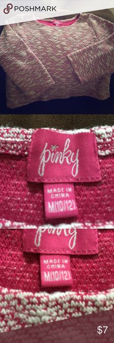Pinky Brand Girls Size 10/12 Medium. Pink and white stitching. Half shirt. Over a tank top of sorts. Gorgeous. Barely ever worn. Pinky Shirts & Tops