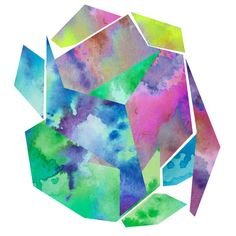 MOVES ME abstract geometric watercolor digital art print in green, blue, yellow and pink. $20.00, via Etsy.