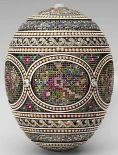Mosaic Egg, 1914 presented by Nicholas II to Czarina Alexandra Fyodorovna. Gold, platinum, diamonds, rubies, emeralds, topazes, sapphires, by lala711