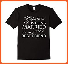 Mens Happiness Is Being Married To My Best Friend Wedding T-shirt Medium Black - Wedding shirts (*Partner-Link)