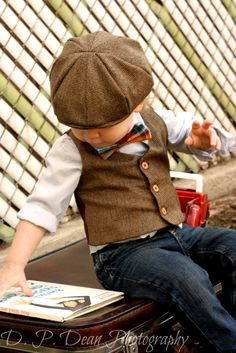 Baby boy - Boys Vest - Newsboy Hat - Bow Tie - Ring Bearer - Baby boy photo prop - photo prop - Easter - four tiny cousins - newsboy outfit. $78.00, via Etsy.
