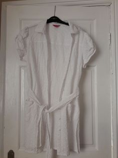 d962b40019a White Monsoon Shirt Dress Embroidered Buttons Up Size 20  fashion  clothing   shoes
