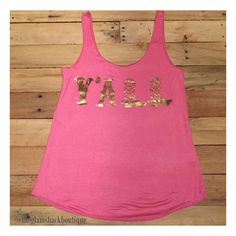 Such a CUTE, CUTE tank!! Soft jersey knit. Gold foil  graphic on front.     Perfect for summer!!💕    Small fits 4/6.     Medium fits 8/10.     Large fits 12/14.     FREE US Shipping!!💕 | Shop this product here: http://spreesy.com/theglamshackboutique/769 | Shop all of our products at http://spreesy.com/theglamshackboutique    | Pinterest selling powered by Spreesy.com