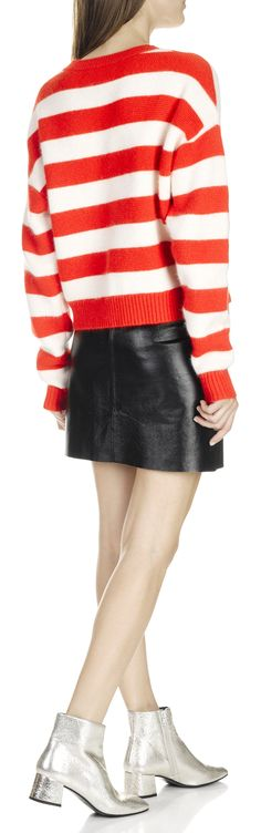 Eshop DIANE VON FURSTENBERG : RED SHORT STRIPED MERINO WOOL SWEATER WITH free shipping AND return. Buy THE FULL RANGE OF DESIGNERS DESIGNERS CLOTHING ON Place des Tendances.