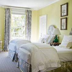 pastel yellow walls and and cheerful coastal print. Nice for a guest room. Coastal Bedrooms, Guest Bedrooms, Coastal Living, Beach Bedrooms, Florida Living, Coastal Decor, Florida Home Decorating, Yellow Gray Bedroom, Yellow Rooms