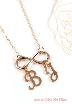 Personalized Infinity necklace - letter, initial, rose gold filled, personalized jewelry, forever love, sister, bridesmaid, www.colormemissy.com, by ColorMeMissy
