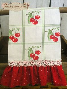 Cheery Cherries Retro Farmhouse Kitchen Towel Red Ruffles Ecs Cherry Decor