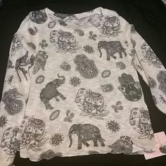 NWOT Long Sleeve Elephant Shirt Lightweight and adorable!! Never worn!! Tops Tees - Long Sleeve
