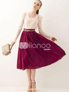 Vintage Pleated Chiffon Women's Tea Length Skirt - Milanoo.com
