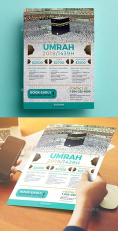 This can be used to promote your hajj or umrah travel. This template is very easy to use File Features : PSD Designs Size In) In Bleed area CMYK / 300 dpi Smart Object Image Customizable Text PSD file Flower texture is include Brochure Design, Brochure Template, Flyer Template, Branding Design, Graphic Design Templates, Print Templates, Cool Business Cards, Business Flyer, Pamphlet Design