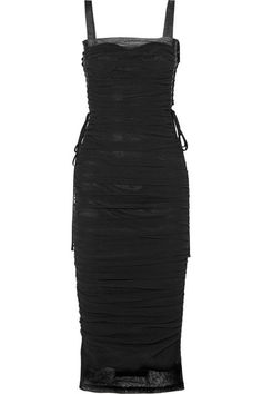 Dolce & Gabbana | Lace-up ruched cotton-blend tulle and silk-satin midi dress | NET-A-PORTER.COM